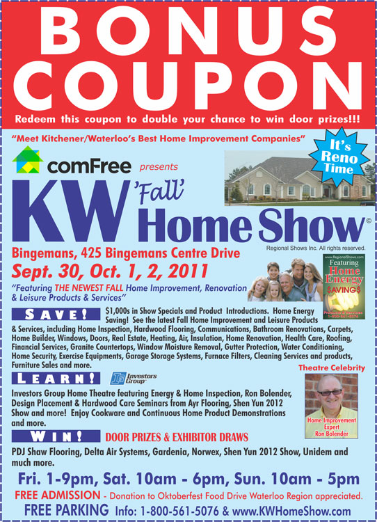 Kw Home Show September 30 2011 To October 2 2011 Bonus Draw Coupon
