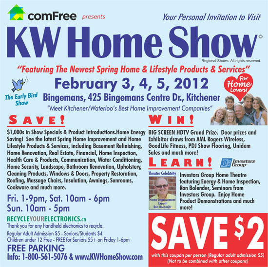 Kw Home Show February 3 2012 To February 5 2012 Admission Coupon